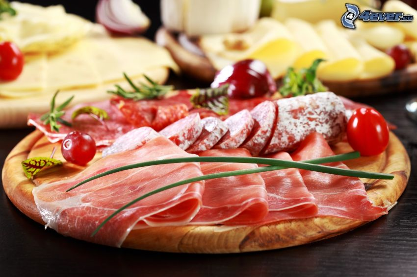 frukost, skinka, salami