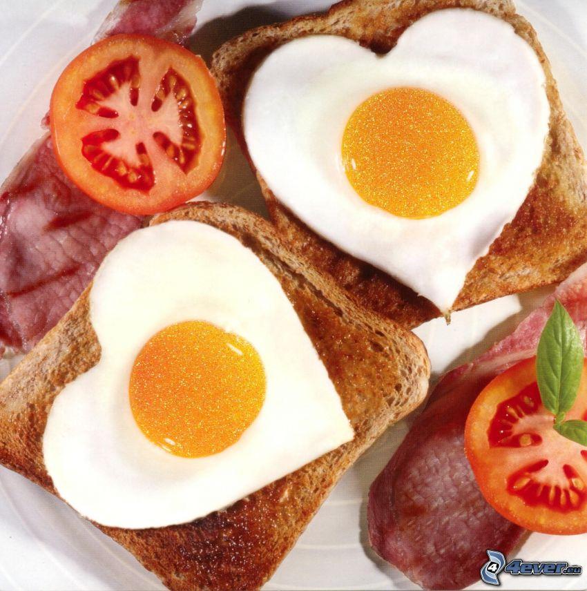 frukost, stekt ägg, hjärtan
