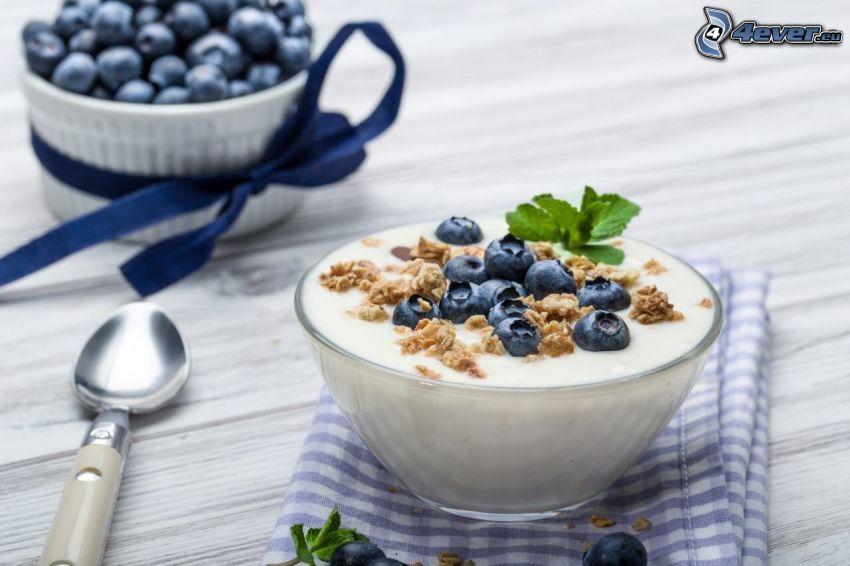 frukost, yoghurt, blåbär, müsli