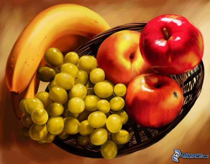 frukt, banan, vindruvor, äpplen, korg, konst