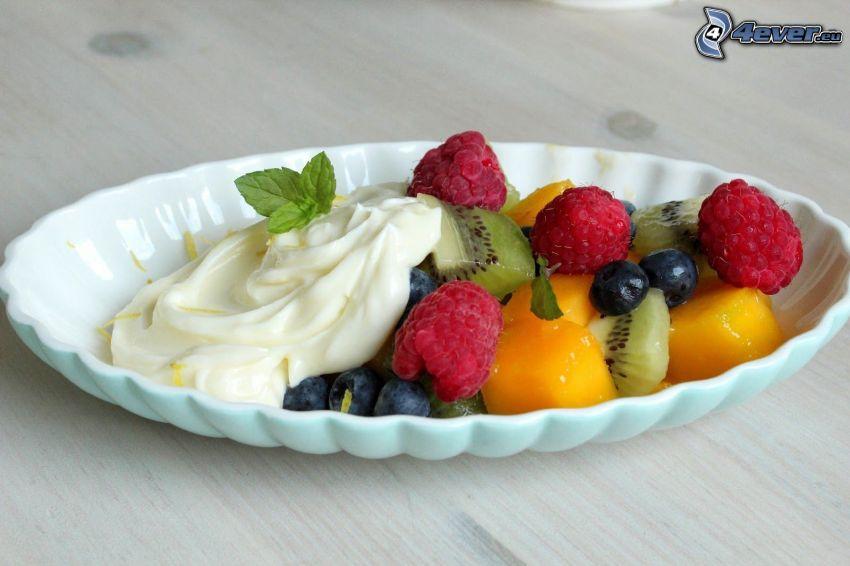frukt, grädde