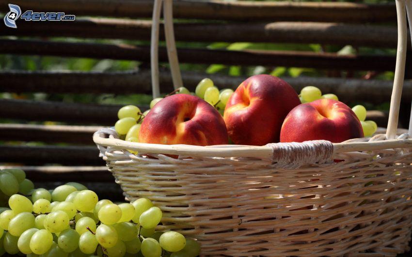 frukt, korg, vindruvor, nektariner