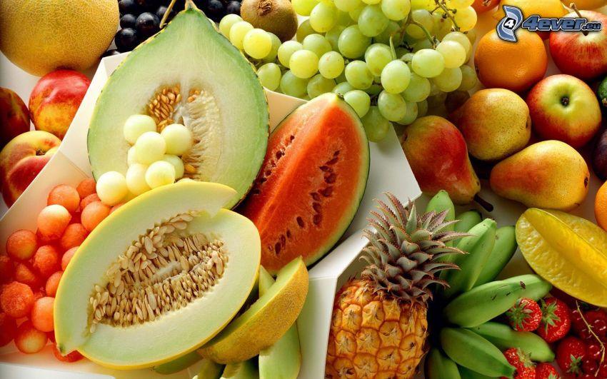 frukt, meloner, vindruvor, päron, bananer, ananas
