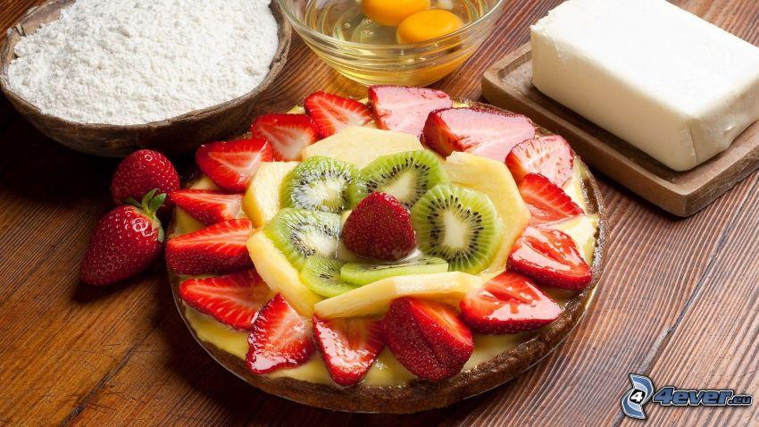 fruktbakelse, jordgubbar, kiwi