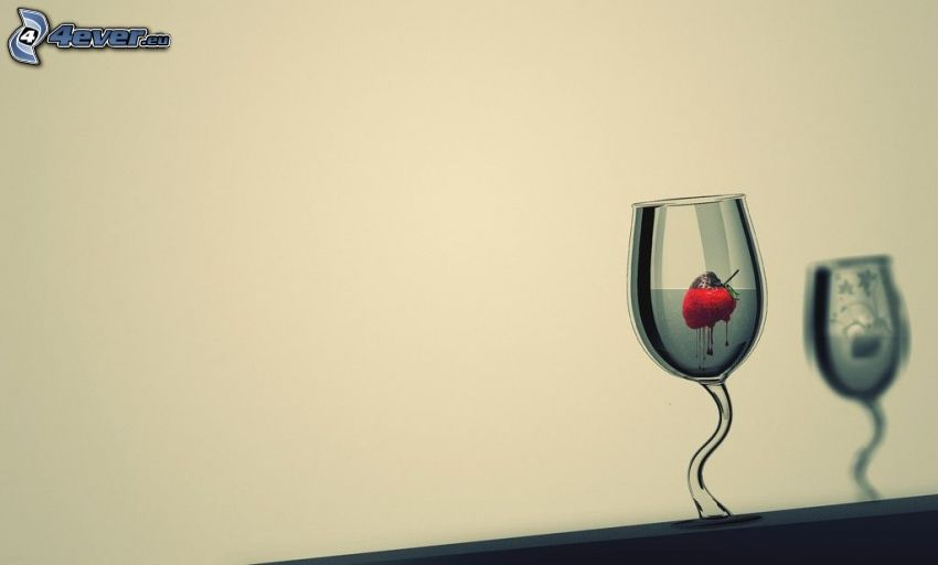 glas, jordgubbe