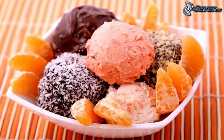 glassdessert, mandariner