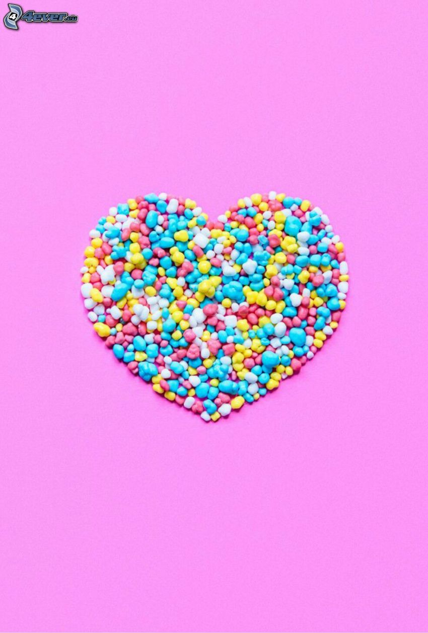 godis, hjärta, rosa bakgrund