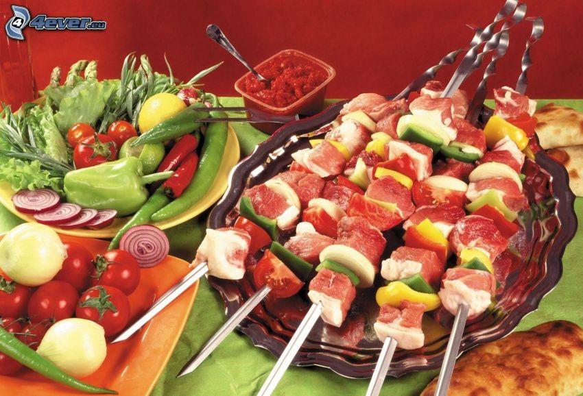 grillspett, grönsaker