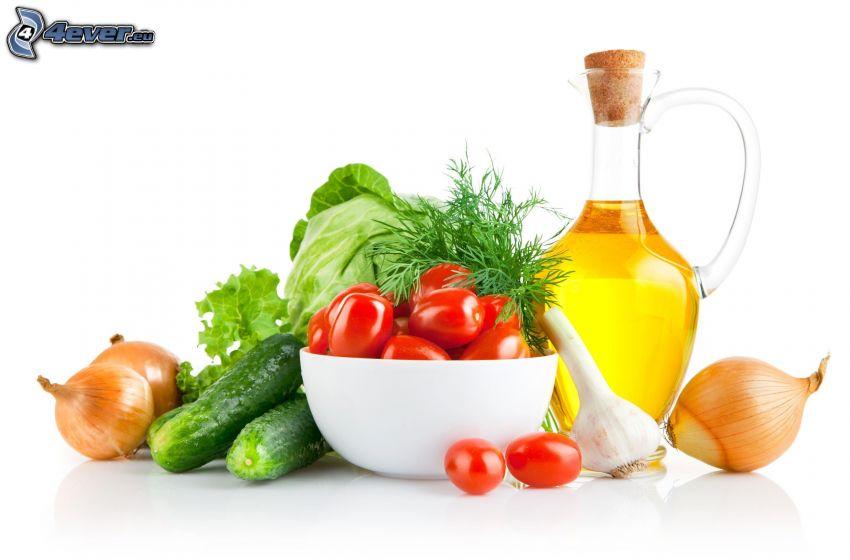 grönsaker, olja, tomater, gurkor, lök