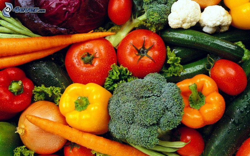 grönsaker, tomater, paprikor, broccoli, gurkor