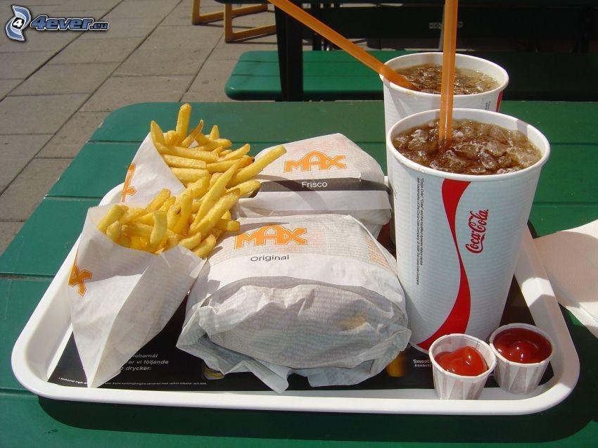 hamburgare med pommes frites, dryck