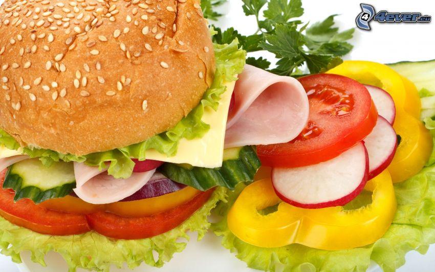 hamburger, grönsaker