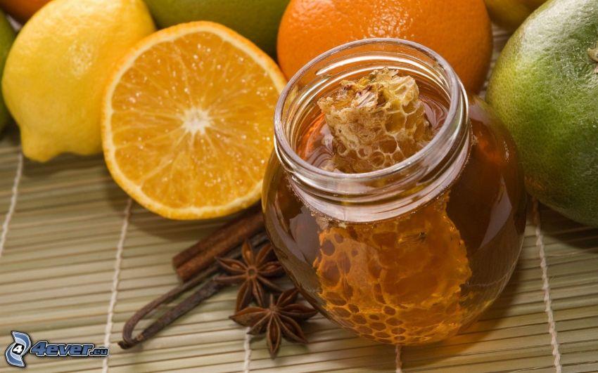 honung, bivax, citrusar, citron, kanel