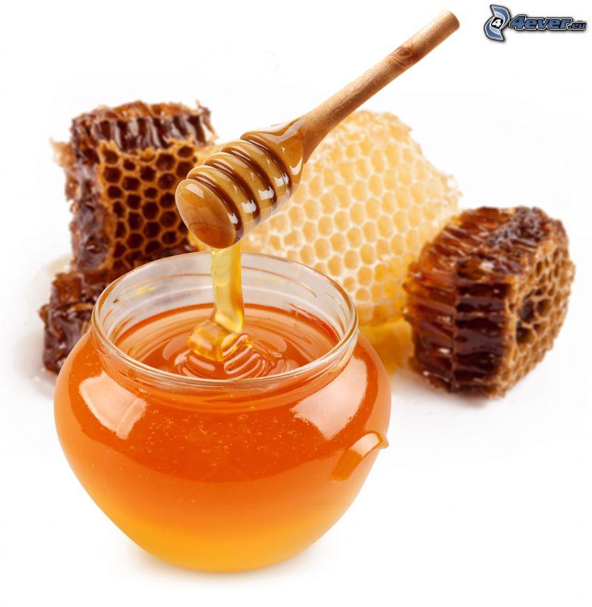 honung, honungssked i trä, bivax