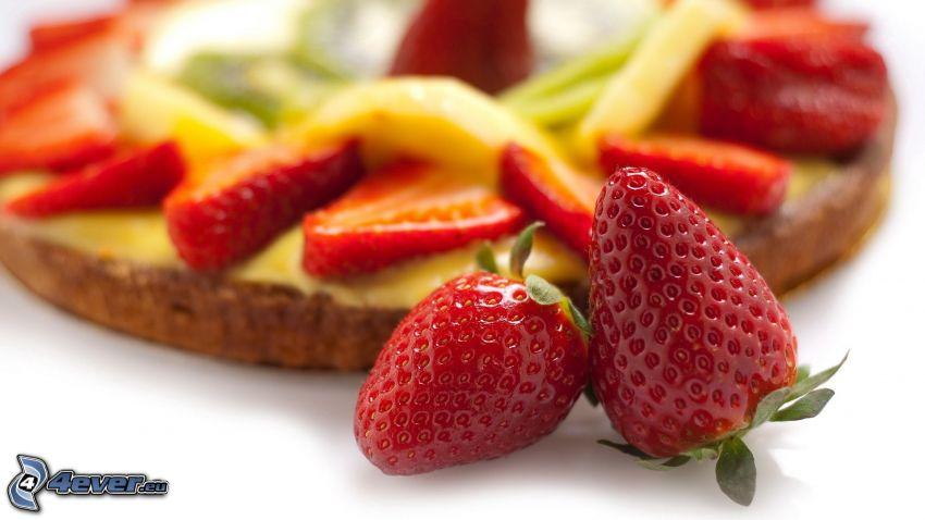 jordgubbar, fruktbakelse