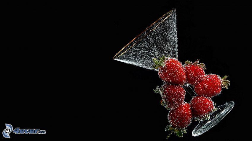 jordgubbar, glas, bubblor