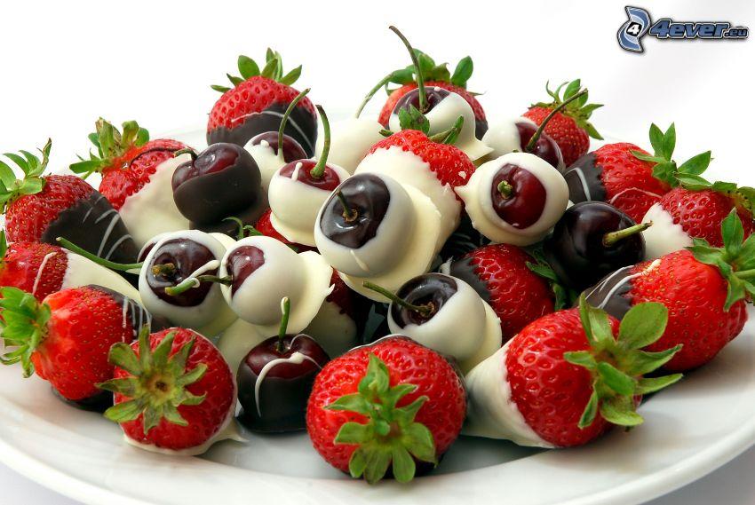 jordgubbar, körsbär, choklad