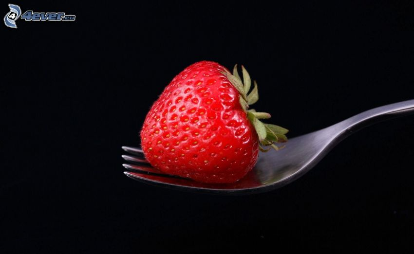 jordgubbe, gaffel