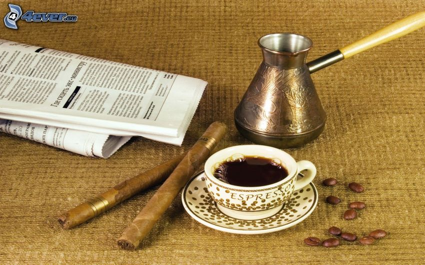 kaffe, cigarrer, tidning