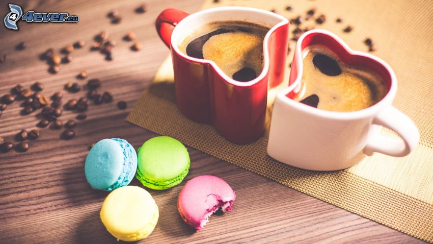 kaffe, hjärtan, cupcakes, kaffebönor
