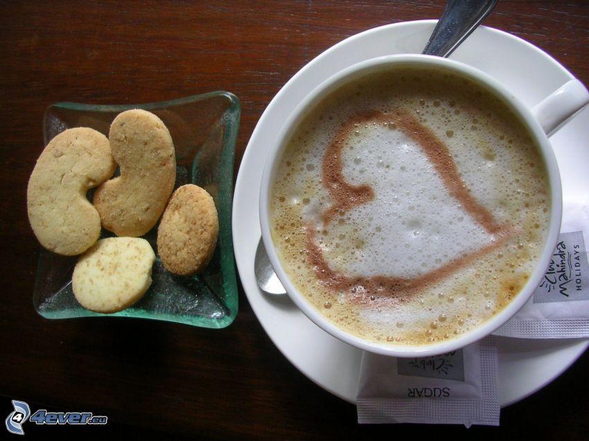 kaffe, kakor, hjärta, latte art