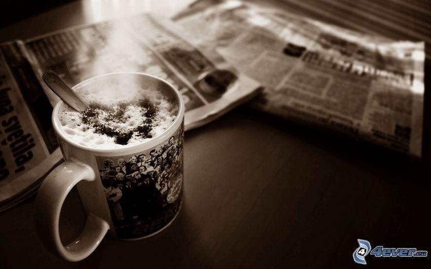 kaffe, tidning, hjärta, latte art