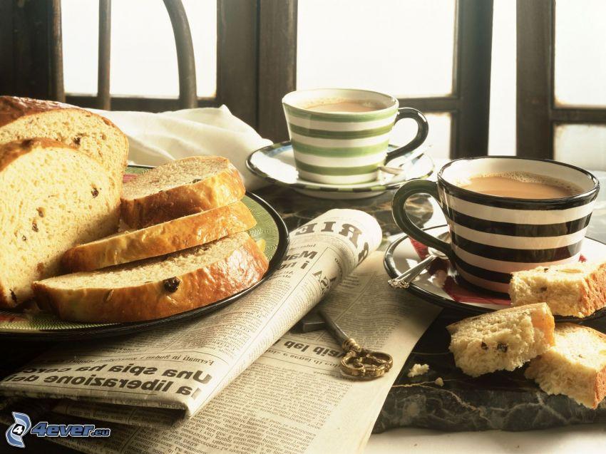 kaffekopp, bröd, tidning