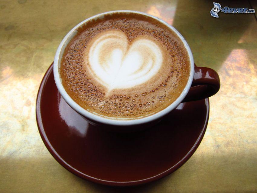 kaffekopp, hjärta, latte art