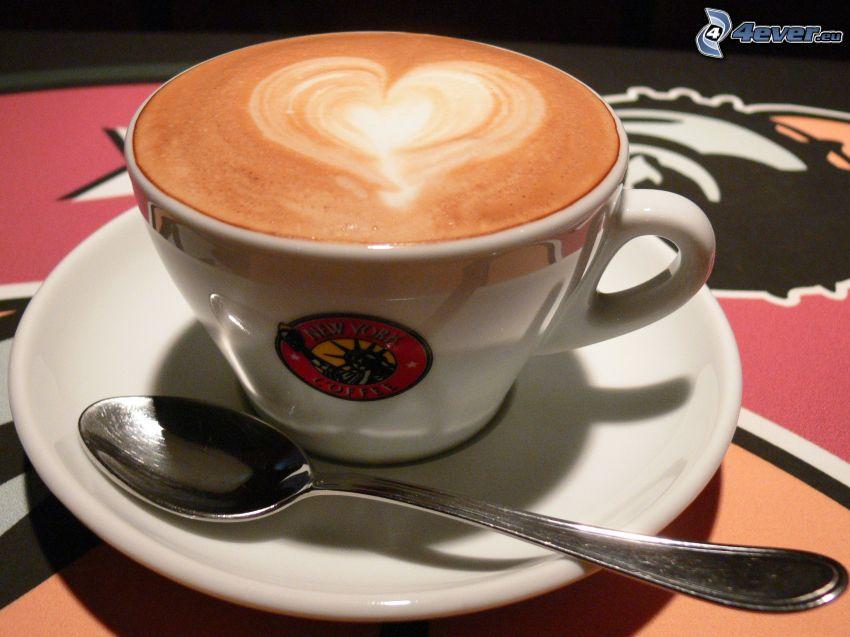 kaffekopp, hjärta, sked, latte art