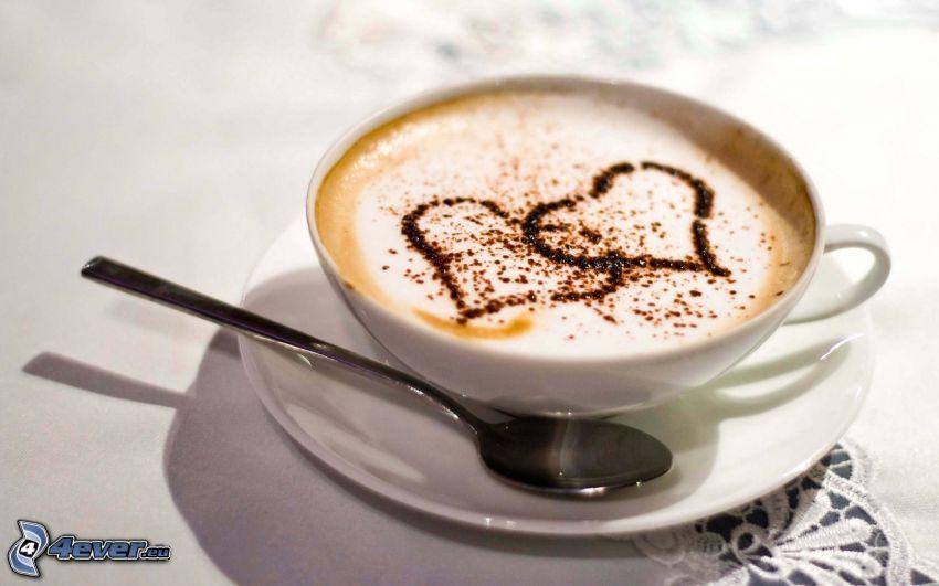 kaffekopp, hjärtan, hjärta i kaffe, latte art