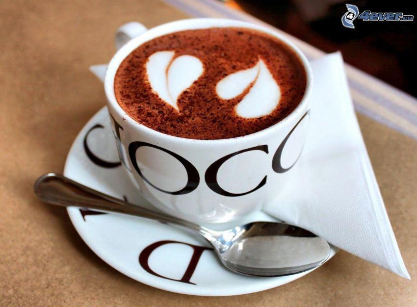 kaffekopp, hjärtan, latte art