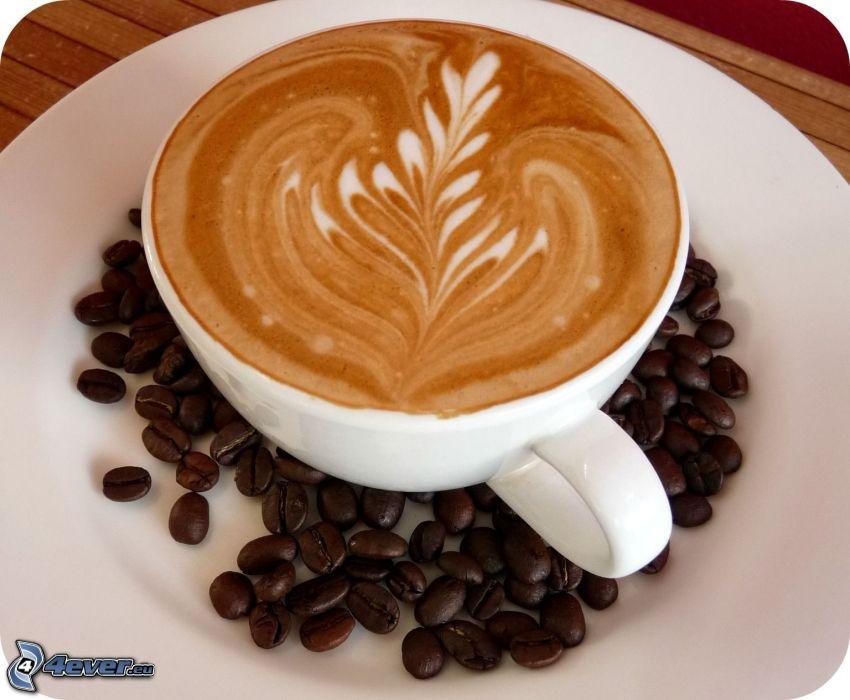 kaffekopp, kaffebönor, latte art