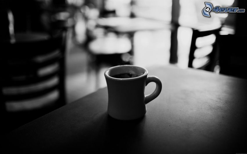 kaffekopp, restaurang, svartvitt foto