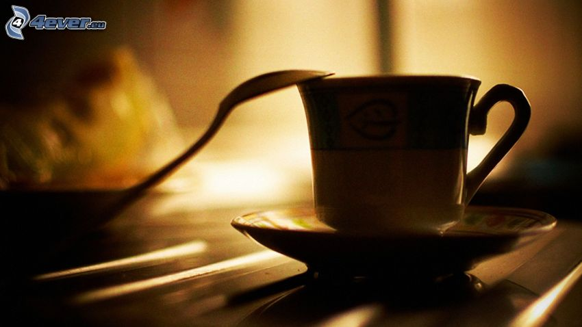 kaffekopp, sked