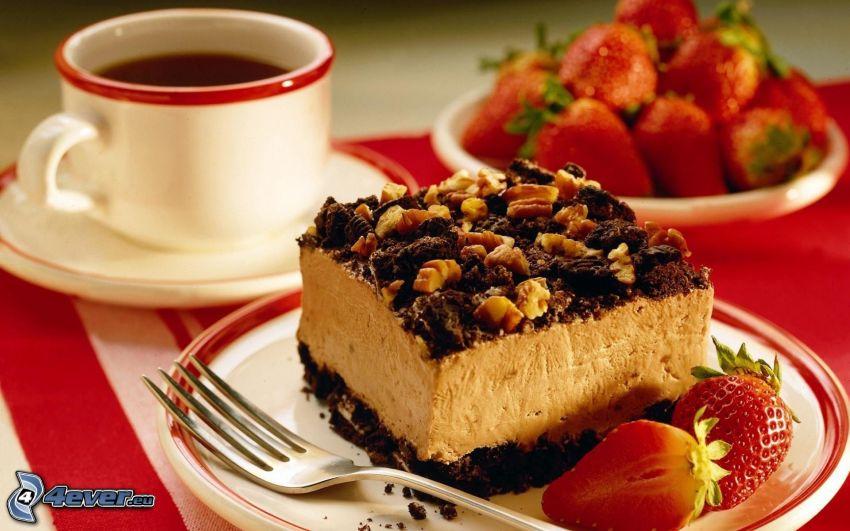 kaka, kaffe, jordgubbar