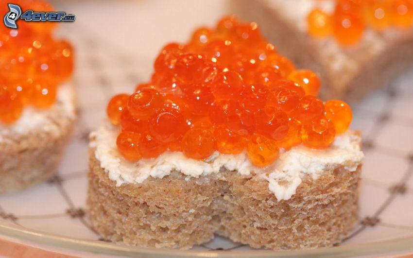 kaviar, bröd, smör