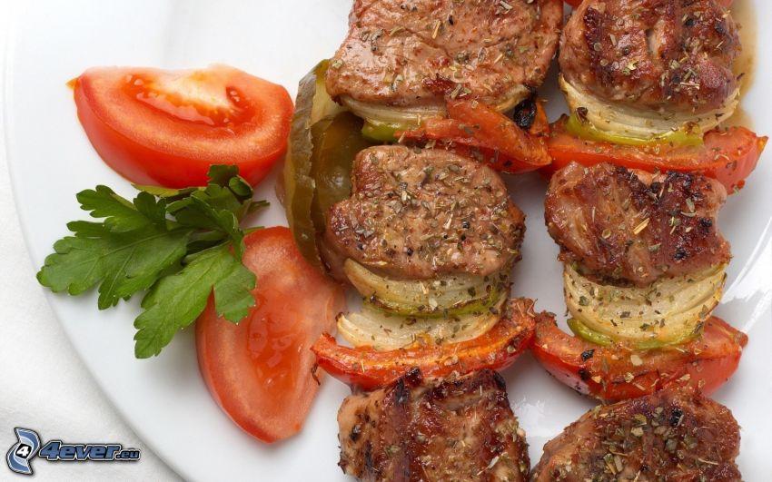 kött, tomat