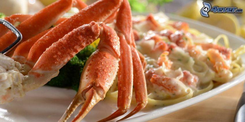krabba, pasta