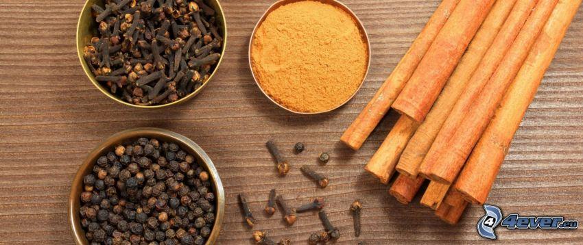 kryddnejlika, svartpeppar, kanel