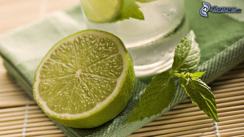 lime, myntablad