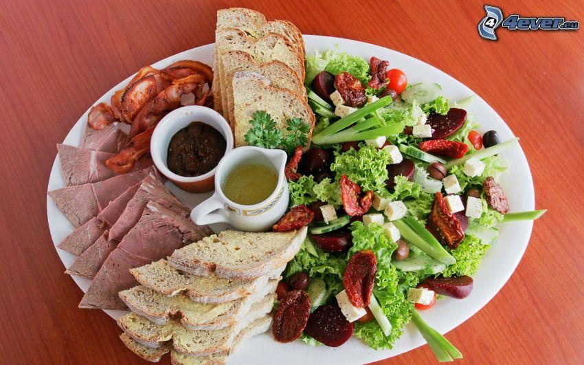mat, kött, korv, sallad, bröd