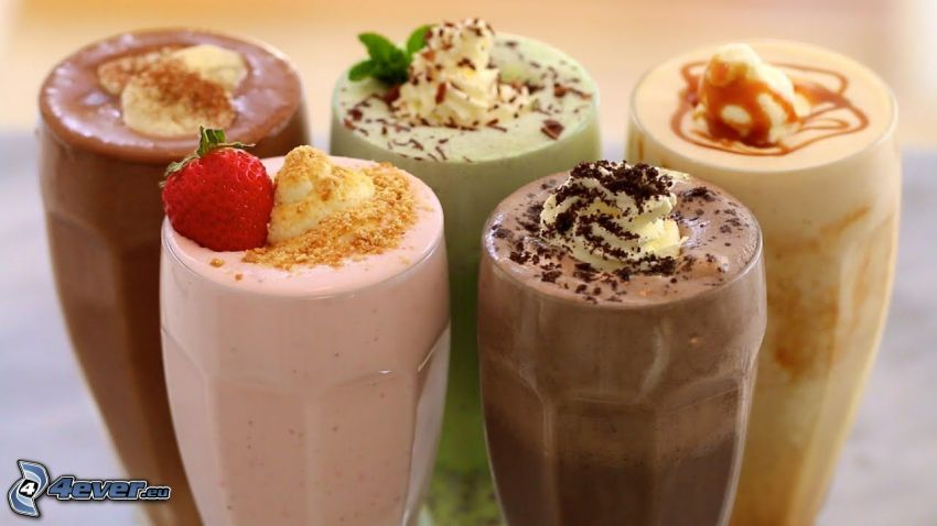 milk shake, grädde, jordgubbe, kakao, karamell