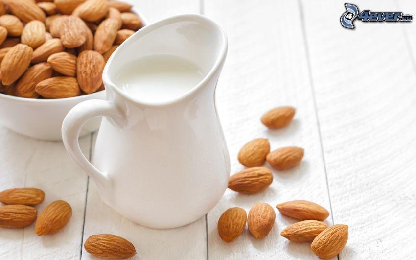mjölk, mandlar