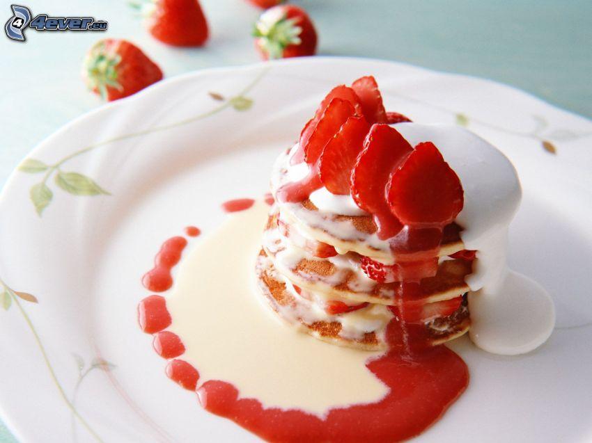 pannkakor, jordgubbar
