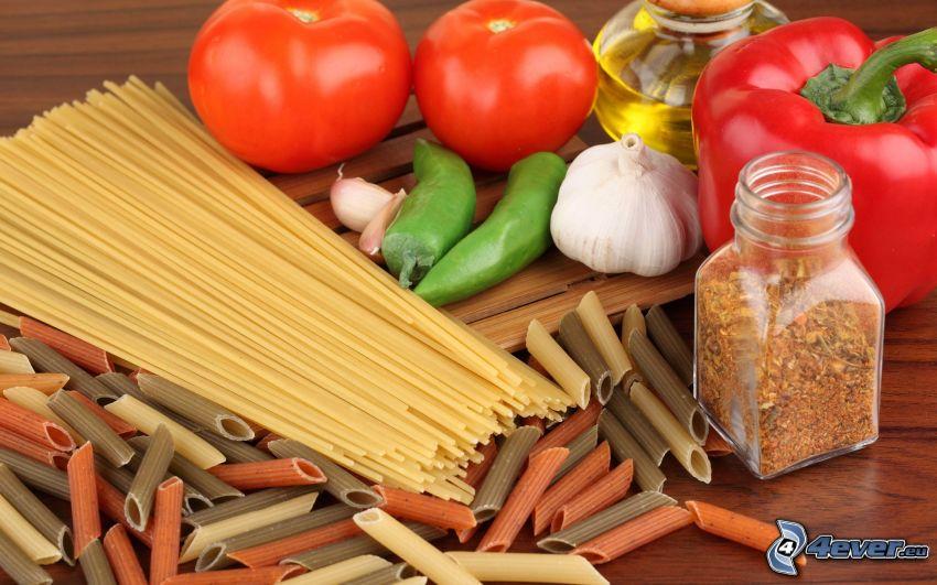 pasta, grönsaker
