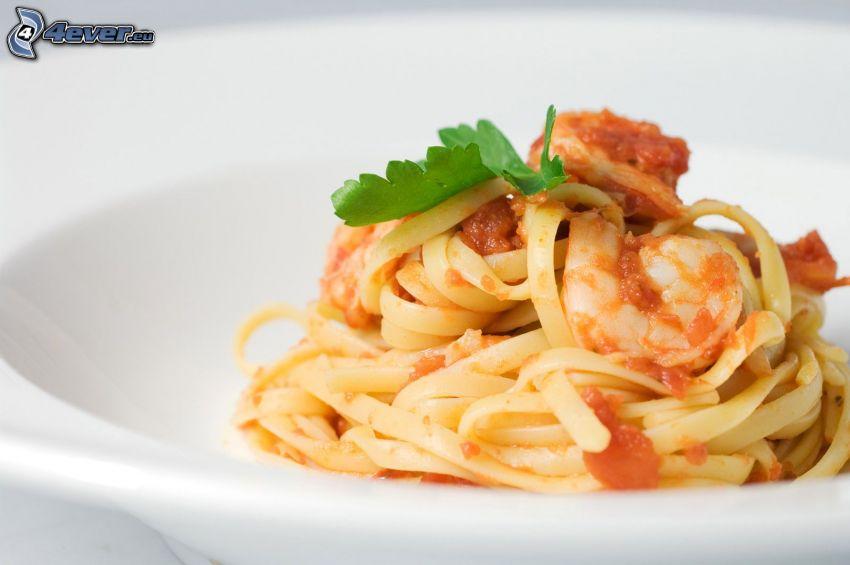 pasta, räkor