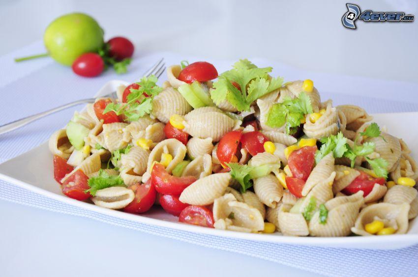 pastasallad, grönsaker