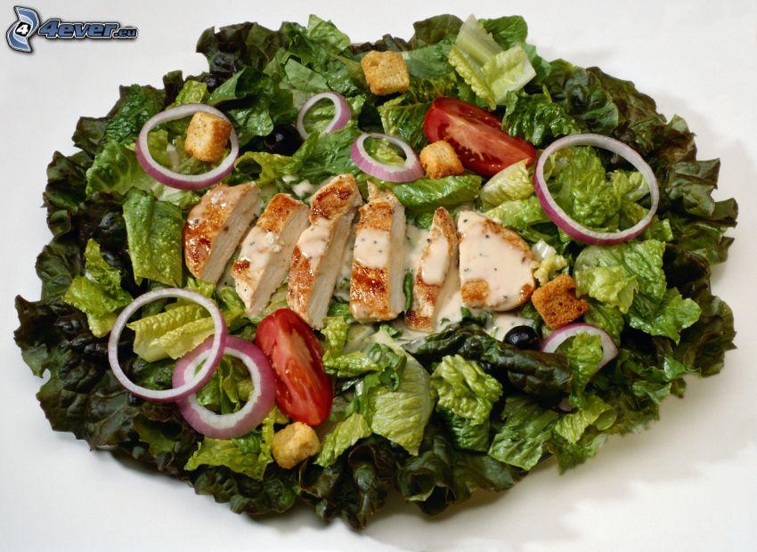 sallad, grönsaker, kycklingkött