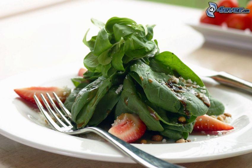 sallad, spenat, jordgubbar