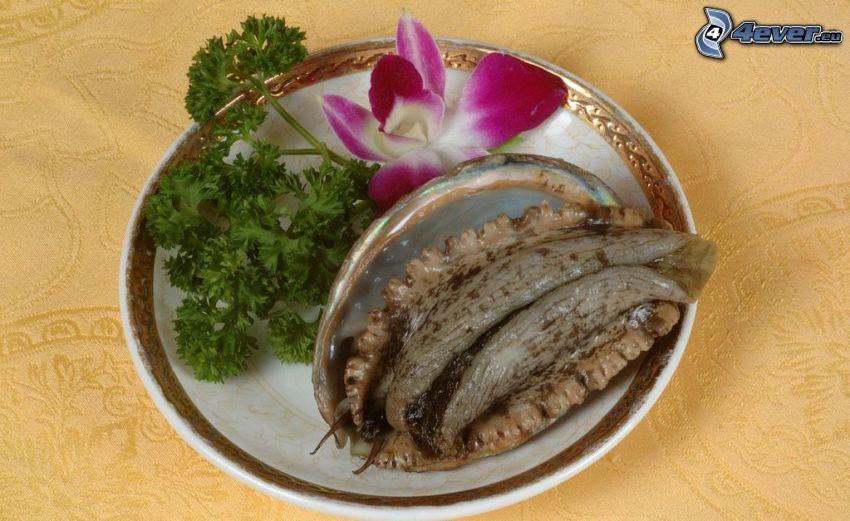 sniglar, mussla, tallrik